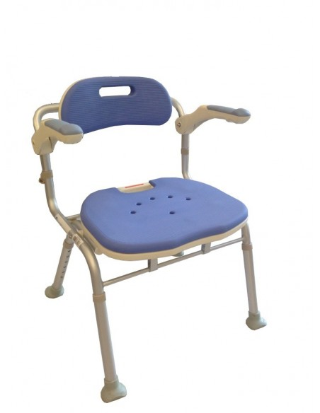 Sedia da doccia pieghevole con schienale e braccioli