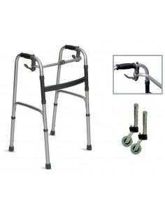 Deambulatore Walker con ruote  fisso e articolato pieghevole con ruote piroettanti