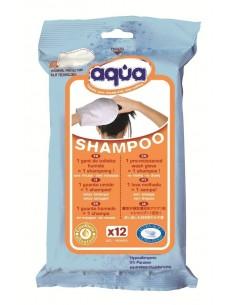 Confezione da 12 guanti bagno con Shampoo senza Risciacquo Aqua Shampoo