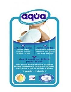 Confezione da 12 guanti toilette corpo senza Risciacquo Aqua