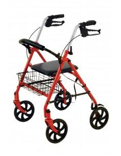 Deambulatore Rollator 4 ruote Rosso con cestino Wimed